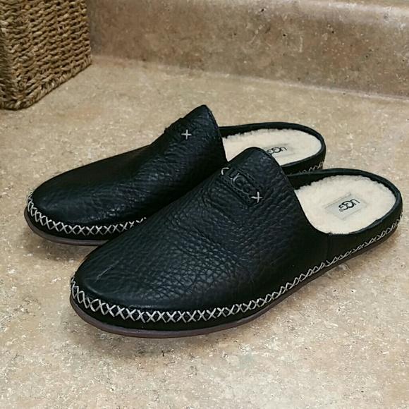 7a02bd4d055 Ugg Tamara Black Leather Indoor Outdoor Slippers 8
